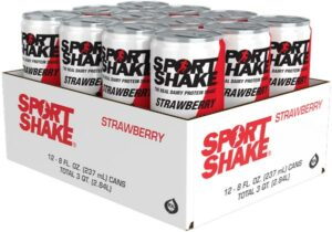 Case of 12 - 8oz Cans - Strawberry Sport Shake