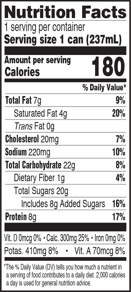 Nutrition Information - Cappuccino 8oz