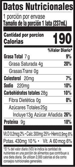 Información nutricional - Batido deportivo de chocolate
