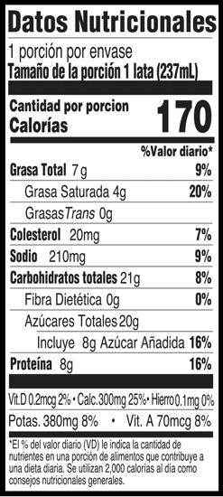 Información nutricional - Nutritional Information - Vanilla Sport Shake